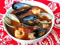 cioppino!   Soo delicious!   PERFECT for a Christmas Eve dinner to represent the Seven Fishes of the Sea :-)
