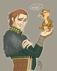 Anders and Kitty by ~NigaLacrima on deviantART - Ahem...his name is Ser Pounce-a-Lot