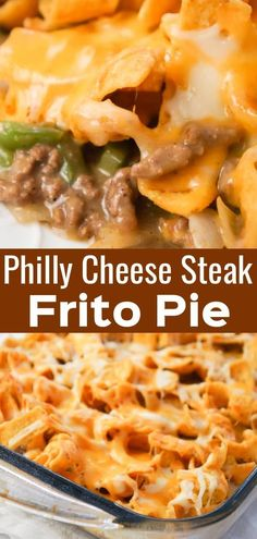 Philly Cheese Steak Frito Pie is an easy ground beef casserole recipe loaded with green peppers, onions, Fritos corn chips and shredded mozzarella and cheddar cheese. with ground beef casserole Philly Cheese Steak Frito Pie - This is Not Diet Food Steak Casserole, Beef Casserole Recipes, Stuffed Pepper Casserole, Sausage Recipes, Frito Pie, Easy Ground Beef Casseroles, Ground Beef Recipes, Venison Recipes, Vegan Recipes Easy