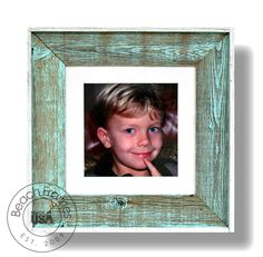 """10 x 10 sea mist color washed weathered reclaimed cypress wood with matting and plexiglass (22"""" x 22"""" outer dimensions). Hangs in both directions. Not made from dingy pallet wood. Made in the USA. Visit www.BeachFrames.com"""