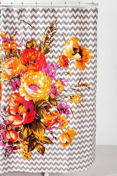 Graphic Bouquet Shower Curtain at Urban Outfitters