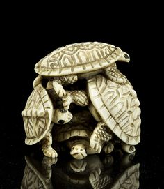 """Antique Netsuke, group of turtles, signed 1 1/2""""H x 1 3/4""""W"""