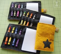 DIY Felt Crayon Book  |  You and Mie  -  I would let kids at church that are too young to follow the service use this to keep busy.  Could modify it to make it of a religious theme.