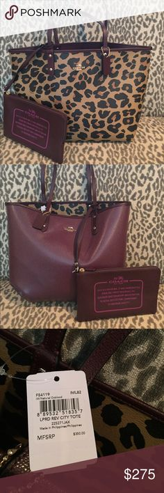 Coach reversible city tote Coach reversible city tote. 2 bags in one! Coach Bags Totes....I love my tote!
