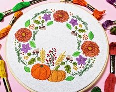 Banana Split Casserole Dessert RECIPE | Etsy Floral Embroidery, Embroidery Patterns, Stitch Patterns, Sewing Patterns, Crochet Patterns, Embroidery Stitches, Wooden Embroidery Hoops, Cervena Fox, Cute Pumpkin