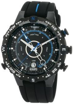Timex Men's T49859 Intelligent Quartz Adventure Series Tide Temp Compass Black/Light Blue Silicone Strap Watch Timex. $123.99. Save 27% Off!