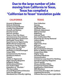 """The Texas Gold Rush: """"Californian to Texan"""" (Blue to Red state) translation guide due to the large number of jobs moving from CA to TX. So true but my favorite """"narrow-minded"""" = """"righteous"""" in Texas Texas Quotes, Southern Quotes, Liberal Policies, Texas Humor, Only In Texas, Moving To Texas, Texas Forever, Loving Texas, Texas Pride"""