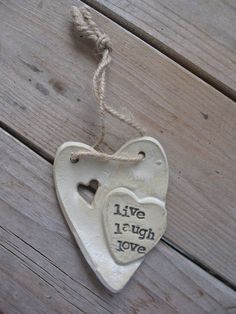 LIVE LAUGH LOVE pottery cross ornament. Handmade. by HobbyPots, $10.00