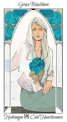 Drawn by Cassandra Jean ... grace blackthorn, flower card, the last hours, the mysterious tlh