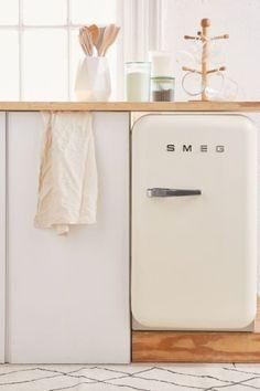 SMEG Mini Refrigerator - Perfectly retro mini fridge with all the modern updates you need. Features absorption cooling, LED lighting + plenty of shelving options inside. Home Design Decor, Interior Desing, Küchen Design, Home Interior, Interior Lighting, Diy Home Decor, Design Ideas, Decor Crafts, Smeg Fridge