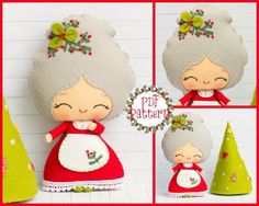 This PDF sewing pattern is to make a Santa Claus, Rudolph the reindeer and Santas sleigh pictured from felt fabrics. These dollsare hand sewn. Mme Santa avec un arbre de Noël par Noialand sur Etsy Elf girl with Christmas hats: Elf hat by Noialand Th Felt Patterns, Pdf Sewing Patterns, Christmas Sewing, Christmas Crafts, Christmas Star, Xmas, Felt Dolls, Baby Dolls, Felt Crafts