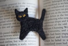 Black Cat Pin, Adorable Needle Felted Brooch Made to Order, Great Stocking Stuffer. $12.50, via Etsy.