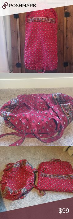 Vera Bradley Garment Bag and Duffle Bundle- Like New -used maybe 3 times Vera Bradley Garment bag and Large duffle bundle-Provincial Red- great for weekend trips with the fam or the girls!!✈️💼 **Smoke FREE house*** Vera Bradley Bags Travel Bags