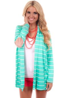 Lime Lush Boutique - Mint Cardigan with Ivory Stripes and Elbow Patches, $39.99 (http://www.limelush.com/mint-cardigan-with-ivory-stripes-and-elbow-patches/)