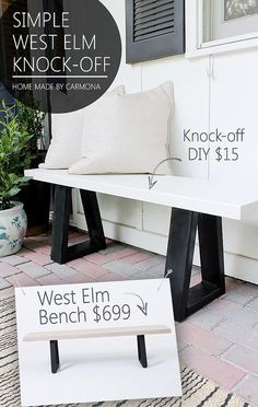 DIY Furniture Store KnockOffs - Do It Yourself Furniture Projects Inspired by Pottery Barn, Restoration Hardware, West Elm. Tutorials and Step by Step Instructions  |   West Elm Bench Knock Off  |   http://diyjoy.com/diy-furniture-store-knockoffs                                                                                                                                                                                 More