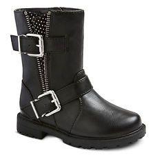 NWOT Cherokee JULIE Black Double Buckle Moto Zipper Boots Shoes Size 12