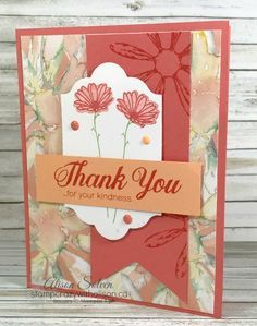 It's my Card Swap Sunday when I share a card I've created for a swap or received in a swap. This card was designed by my friend Lisa Althouse who is an amazing stamping in Lethbridge, AB. She presented at. Daisy Delight Stampin' Up, Stamping Up Cards, Flower Cards, Handmade Crafts, I Card, Thank You Cards, Cardmaking, Stampin Up, Card Ideas