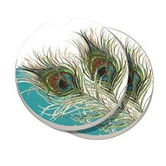 Made of absorbent stoneware, these CounterArt coasters are perfect for under your favorite drink. The fun Elegant Peacock pattern adds to the design.