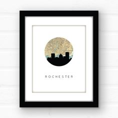 Rochester NY map print Rochester map art by PaperFinchDesign