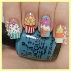"""sweet treats"" mani!  used about 12 different polishes and a variety of dotting tools and stripers to create this cute mani! @pastelpolish"