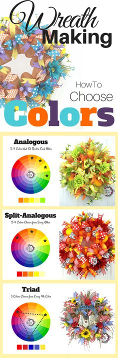 Wreath Making - How to choose Colors for Wreaths! I get asked all the time how to pick the colors, so let me show you where I get my inspiration and how to pick using a color wheel. #diy #howto Artificial Christmas Wreaths, Holiday Wreaths, Holiday Crafts, Winter Wreaths, Spring Wreaths, Spring Crafts, Wreath Crafts, Diy Wreath, Wreath Ideas