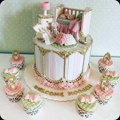 : Pinterest. Wow! Look at that cake We love it! #wow #inspirasjon #kake #cake #delikat #beautiful #detlilleekstra #dinbabyshower www.dinbabyshower.no