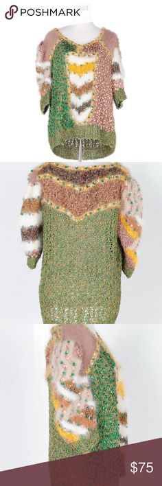 """Angora Sequin Sweater A women's angora sequin sweater. This multicolored angora sweater features sequins embellishments, a scoop neckline and quarter length sleeves. - 16"""" shoulder, 15"""" sleeve, 40"""" bust, 25.5"""" length Sweaters"""