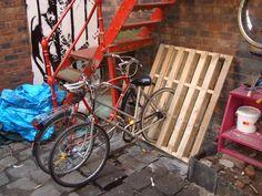 Bike racks from wooden pallet