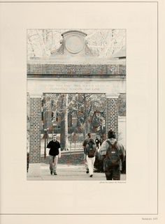 Athena Yearbook, 2002. Students walk through Alumni Gate. :: Ohio University Archives