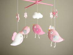 Baby crib mobile Bird mobile felt mobile nursery by Feltnjoy, $90.00
