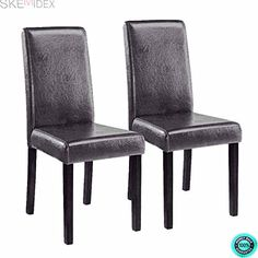 07175f61823f SKEMiDEX---Set of Black Brown Elegant Design PU Leather Contemporary Dining  Chair Room Dining Chairs are beautifully upholstered in rich leather with  ...
