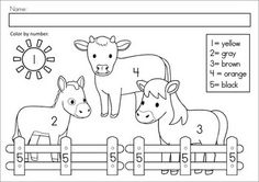 MEGA Math & Literacy Worksheets & Activities - Down on the Farm. 100 Pages in total!! A page from the unit: Color by number