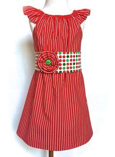 Toddlers Christmas Dress Girls Christmas Dress Red and White Stripes with Polka Dot Sash and Flower Pin Sizes by Toddler Christmas Dress, Red Christmas Dress, Girls Christmas Dresses, Girls Dresses, Red And White Stripes, Dress Red, Little Princess, Sash, Toddlers