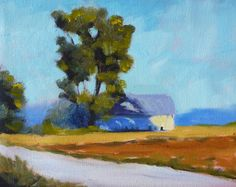Original Landscape Oil Painting, Farm Road, Barn Scene, 8x10 on Gallery Canvas, Rural Landscape, Wall Decor