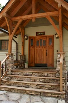 Gorgeous wooden and stone front porch ideas (30)