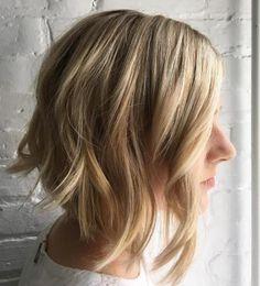 Wavy Blonde Angled Lob