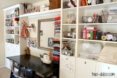 A tour of my craft and sewing corner built with Ikea Billy bookshelves transformed with molding and trim.
