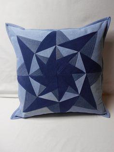 Blue Jeans Denim Star Pillow