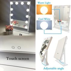 White Hollywood Makeup Vanity Mirror with Light LED Stage Large Beauty Dimmable  #WomanBeauty