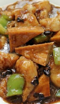 This Fish in Black Bean Sauce is so good you will need several bowls of rice, a very simple recipe of pan fried fish and tofu served in salty black bean sauce Fish Recipes, Asian Recipes, Healthy Recipes, Chinese Recipes, Recipies, Fish Dishes, Seafood Dishes, Tofu, Black Bean Sauce Recipe