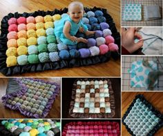 How to DIY Bubble Quilt or Biscuit Quilt Tutorial Bubble Quilt, Bubble Blanket, Puff Blanket, Quilt Baby, Manta Quilt, Diy Manta, Diy Pompon, Diy Puffs, Biscuit Quilt