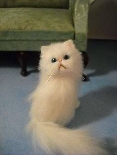 One twelve scale white Persian cat.
