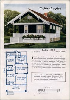 1925 Classic Craftsman-style Bungalow - Small House Plan - C. Craftsman Style Bungalow, Bungalow Floor Plans, Small Bungalow, Craftsman Cottage, Bungalow Homes, Craftsman Bungalows, Craftsman House Plans, Cottage Homes, Craftsman Homes