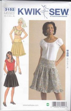 Kwik Sew Sewing Pattern 3152 Misses Sizes XS-XL (8-22) Peasant Cropped Tops Skirts  $11.99