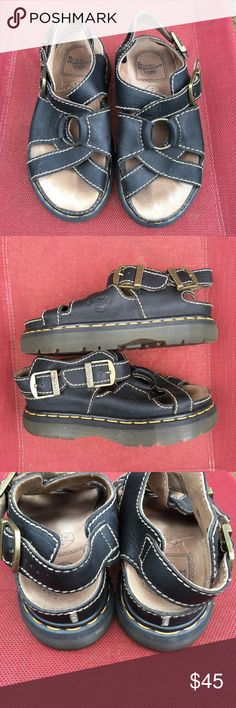Dr. Doc Martens sandals 7 black England airware Dr. Doc Martens size 7 sandals. Made in England! Excellent condition with minor signs of wear on the inner sole. No major flaws. Style 9067. Strappy style with black leather straps and a stylish metal ring on top. Dr. Martens Shoes Sandals