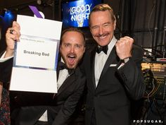 Pin for Later: Relive the Best Moments From the 2014 Emmys  Aaron Paul and Bryan Cranston got animated about their win.