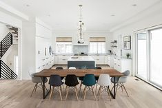 Modern dining room ideas Modern farmhouse with modern dining table and modular dining chairs Wooden Dining Tables, Modern Dining Table, Dining Room Chairs, Eames Style Dining Chair, Modern Farmhouse Table, Farmhouse Ideas, Side Chairs, Dining Area, Dining Rooms