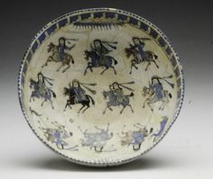 Bowl Depicting Ladies on Horseback 12th-13th century  Artist Unknown (Persia (Iran), Asia)  Earthenware with overglaze polychrome colo...