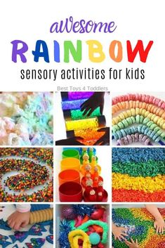 Best Toys 4 Toddlers - 33 Rainbow-themed sensory play ideas for kids to explore different senses and textures Tactile Activities, Sensory Activities Toddlers, Spring Activities, Sensory Bins, Infant Activities, Kindergarten Activities, Sensory Play, Toddler Preschool, Toddler Crafts