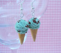 Mint Chocolate Chip Ice Cream Polymer Clay Earrings, Miniature Clay Dessert Food Jewelry, Hook Earrings on Etsy, $12.00